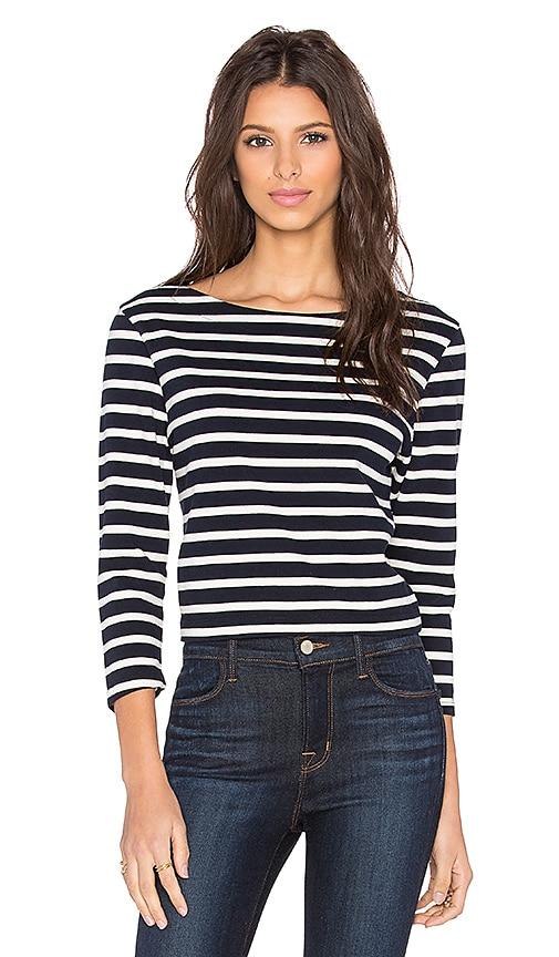 J Brand Marina Long Sleeve Tee in Navy & Cloud Cream