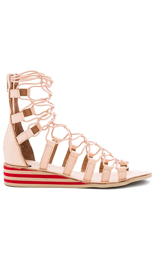 Jeffrey Campbell Burma Sandals in Natural Red Combo