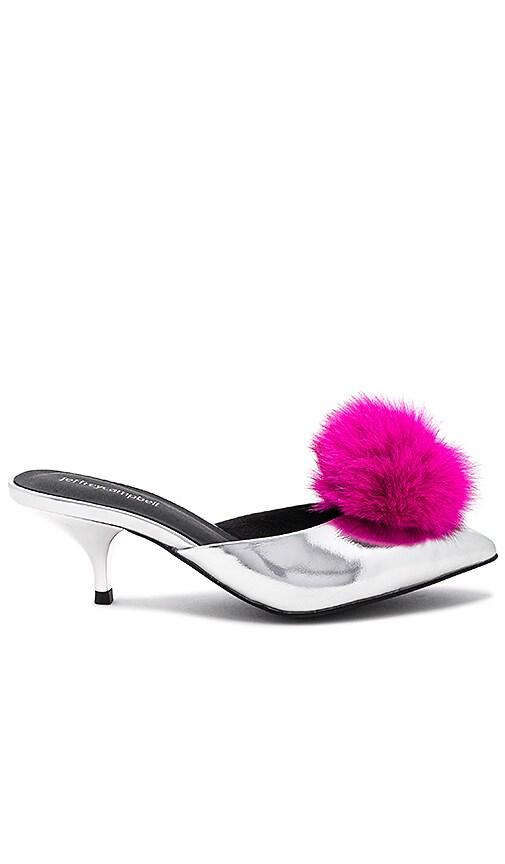 Jeffrey Campbell Jena Detachable Fox Fur Pom Heel in Metallic Silver