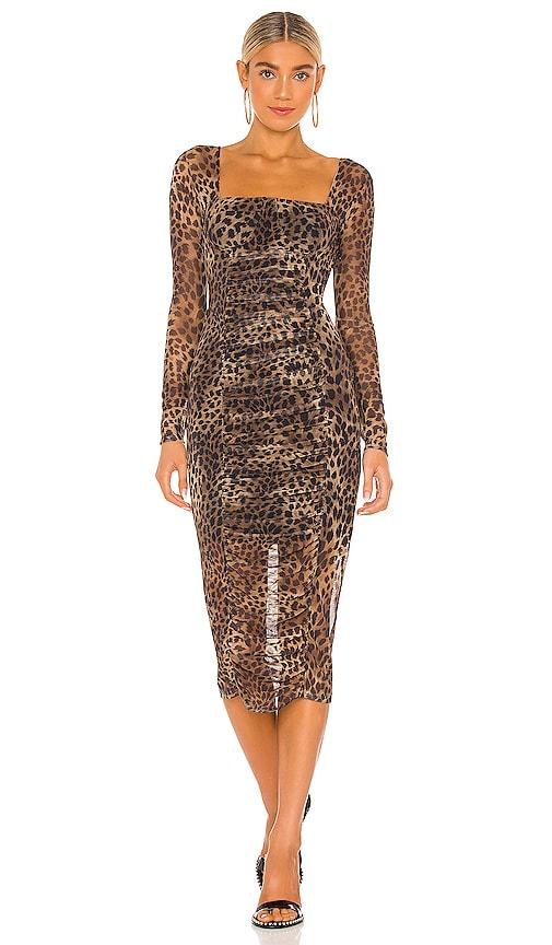 Jonathan Simkhai Standard Kai Ruched Dress In Leopard