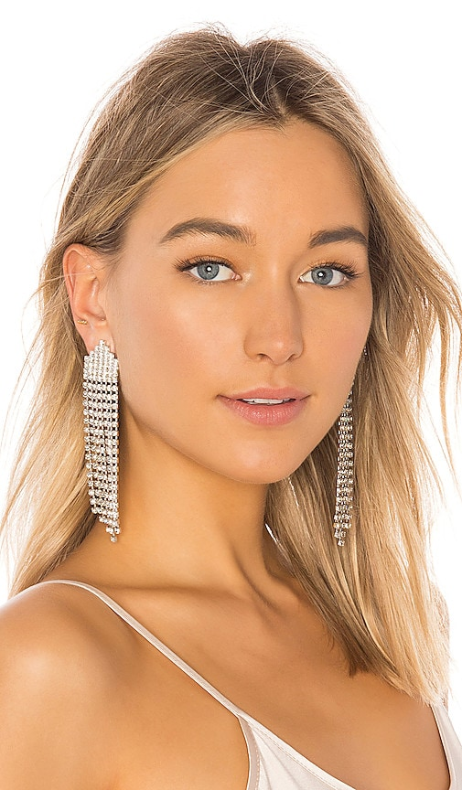Jennifer Behr Diamante Earrings in Metallic Silver