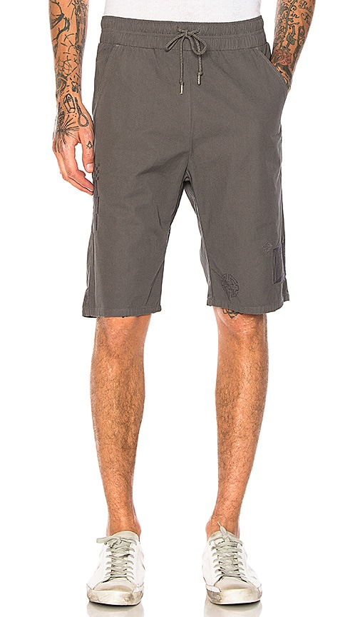 JOHN ELLIOTT Embroidered Shorts in Charcoal