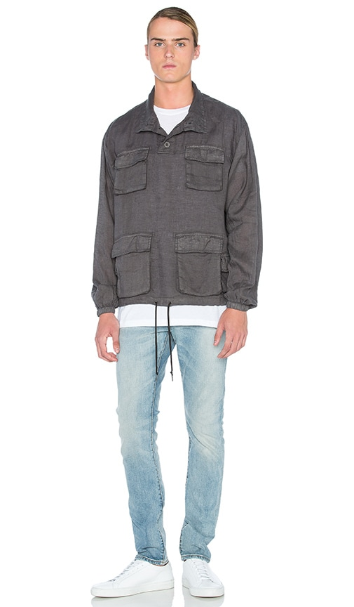 JOHN ELLIOTT Linen Pullover M65 Jacket in Charcoal