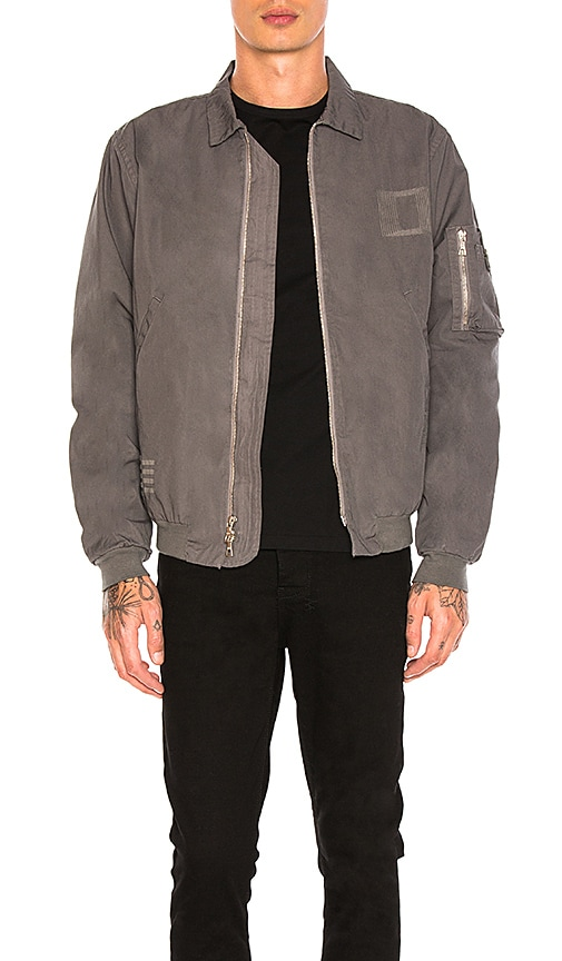 JOHN ELLIOTT Embroidered Flight Jacket in Gray