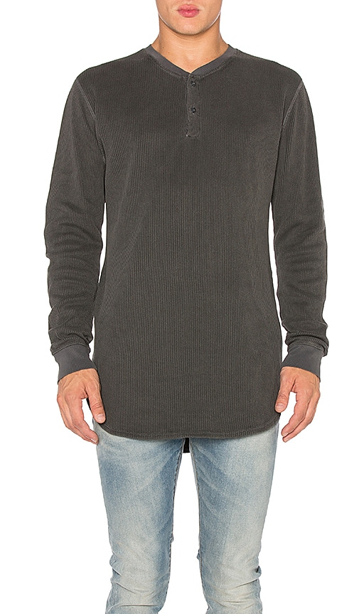 JOHN ELLIOTT Flatback Thermal Henley in Gray
