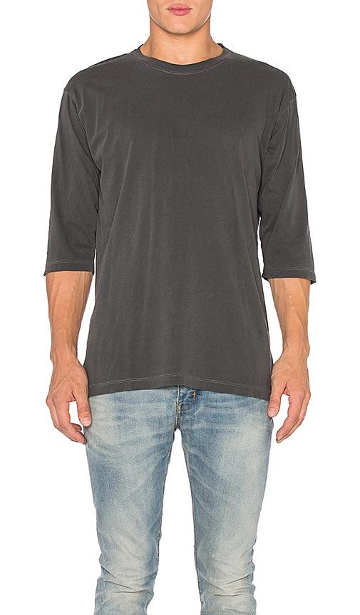 JOHN ELLIOTT Oversized 3/4 Sleeve Tee in Charcoal