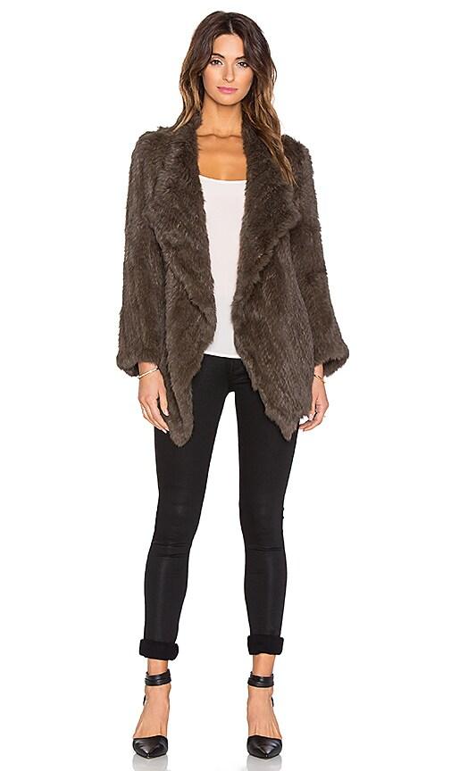 Jennifer Kate Cascade Rabbit Fur Coat in Khaki