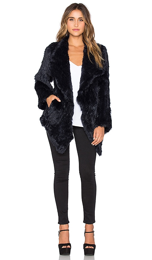Jennifer Kate Cascade Rabbit Fur Coat in Midnight