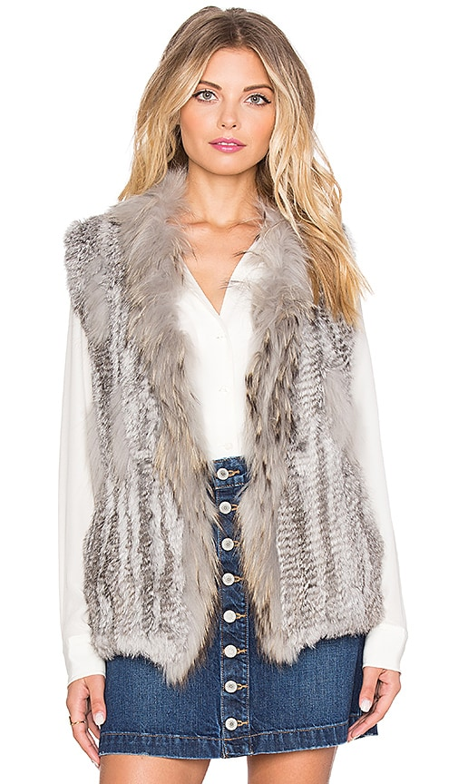 Jennifer Kate Staple Long Rabbit Fur Gilet Vest in Gray