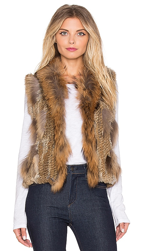 Jennifer Kate Staple Rabbit Fur Gilet Vest in Tan