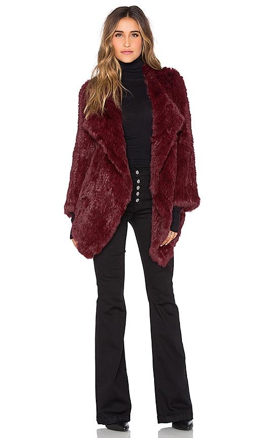 Jennifer Kate Cascade Rabbit Fur Coat in Burgundy