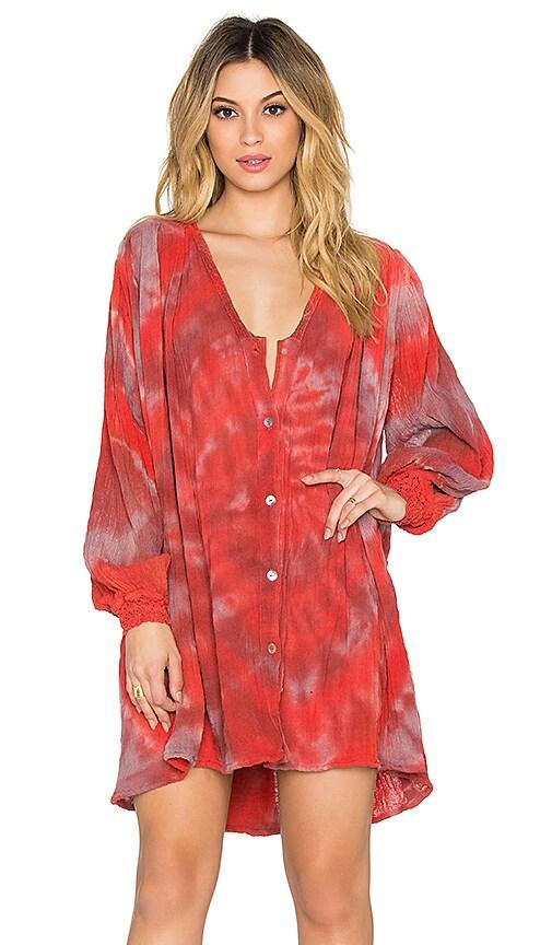 Jen's Pirate Booty Hera Swing Dress in Red Storm Swirl Tie Dye