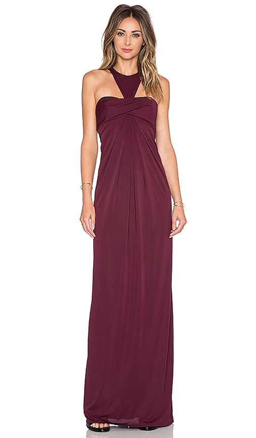 JILL JILL STUART Y Back Maxi Dress in Wine