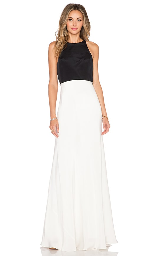JILL JILL STUART Color Block Maxi Dress in Black & Off White