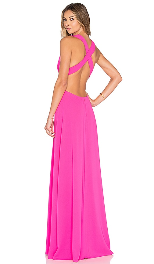 JILL JILL STUART Deep V Gown in Gossip Pink