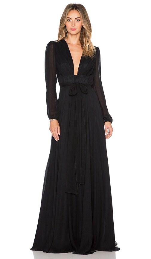 JILL JILL STUART Deep V Maxi Dress in Black