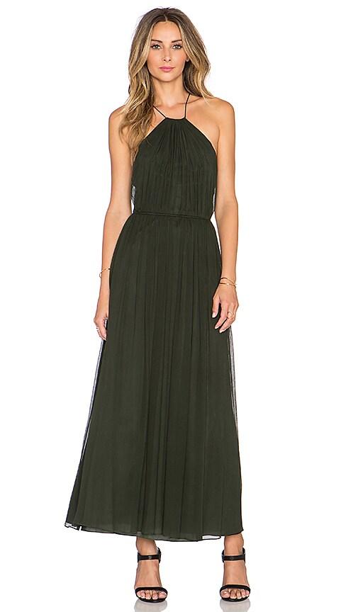 JILL JILL STUART Cross Back Halter Maxi Dress in Evergreen