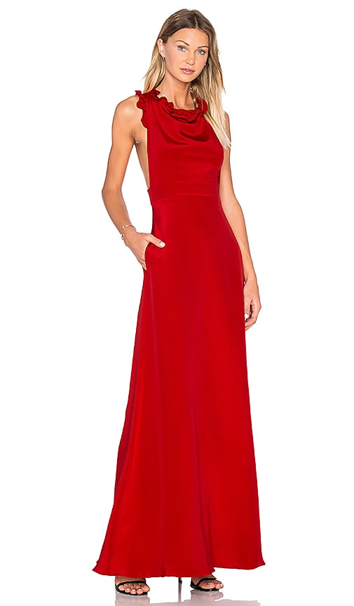 JILL JILL STUART Sleeveless Ruffle Gown in Apple Red
