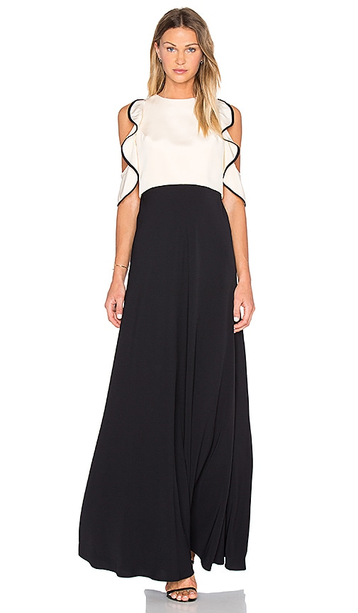 JILL JILL STUART Ruffle Top Gown in Bisque & Black