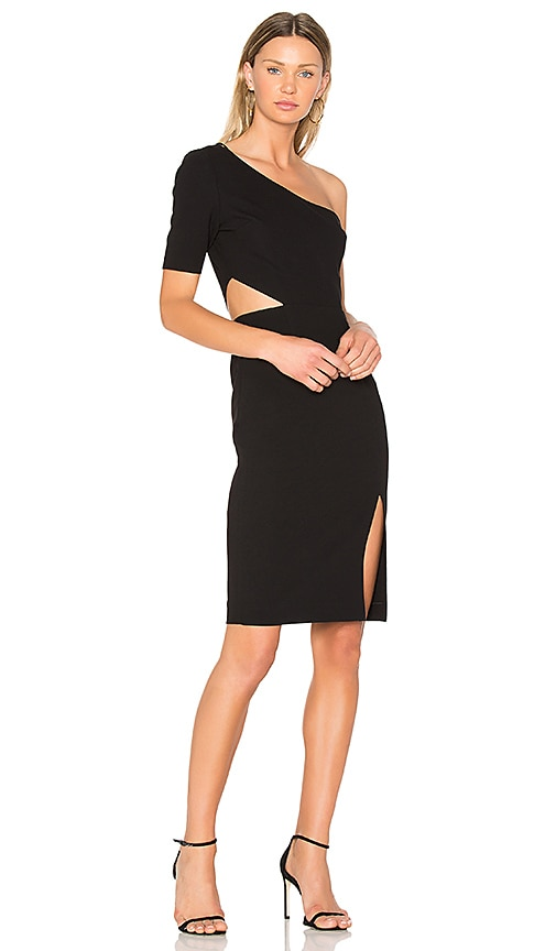 JILL JILL STUART One Shoulder Cut Out Dress in Black