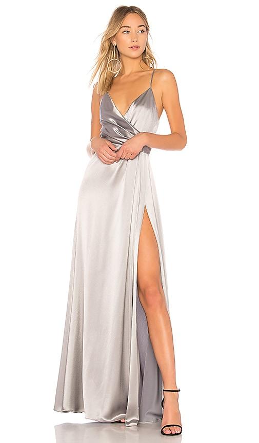 JILL JILL STUART Metallic Wrap Gown in Silver