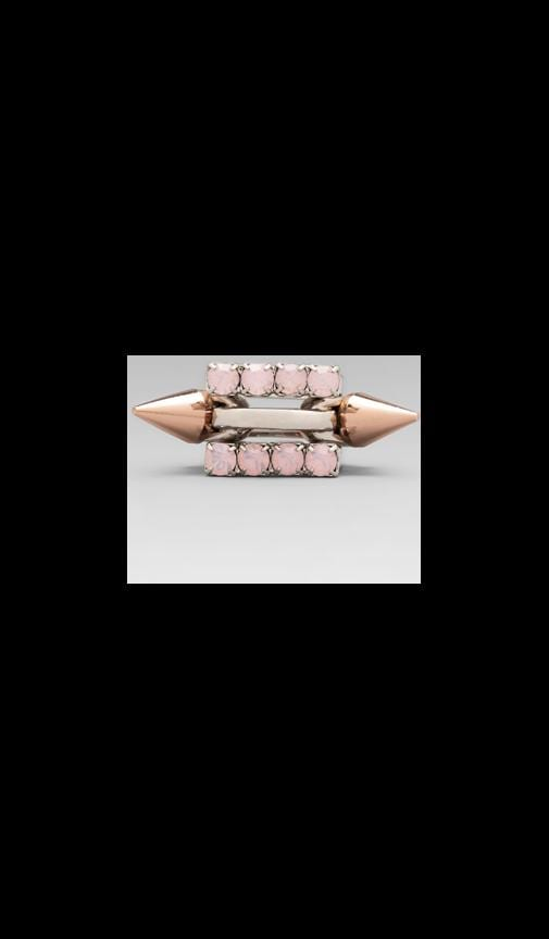 Set of 3 Rings Crystal & Rose Gold Spike