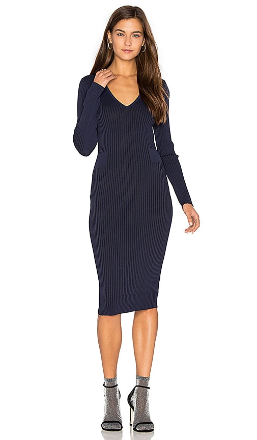 John & Jenn by Line Faye V Neck Sweater Dress in Navy