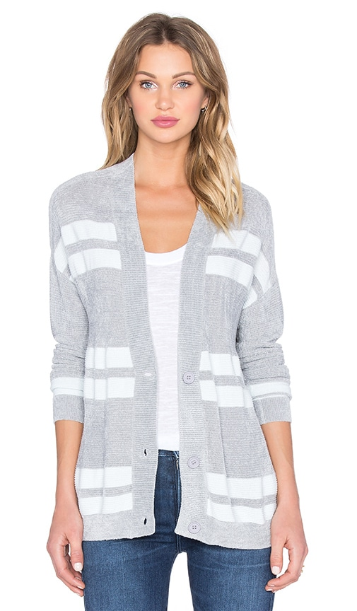 John & Jenn by Line Calvin Stripe Cardigan in Gray