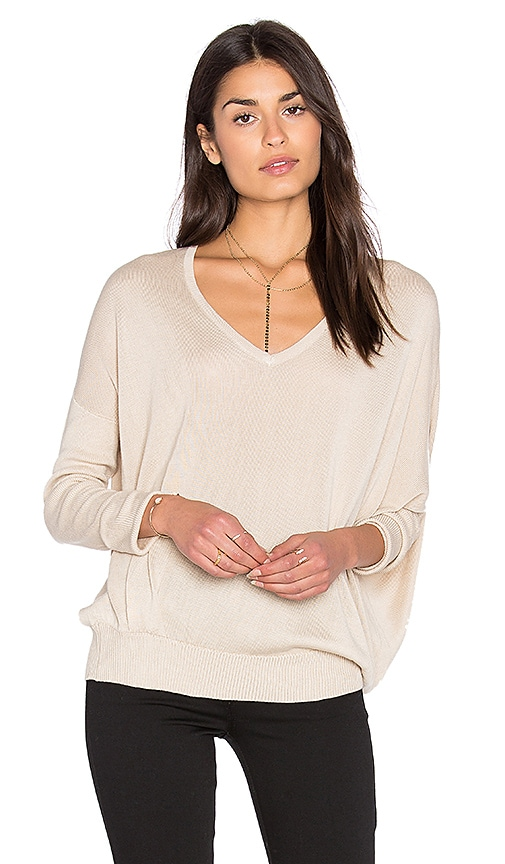 John & Jenn by Line Marques V Neck Sweater in Beige