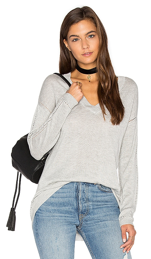 John & Jenn by Line Aden V Neck Sweater in Gray