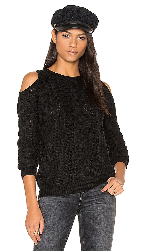 John & Jenn by Line Lina Cold Shoulder Sweater in Black