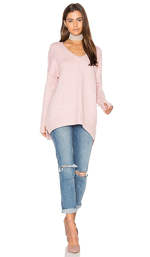 John & Jenn by Line Gala V Neck Sweater in Pink