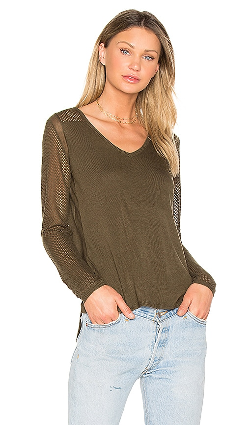 John & Jenn by Line Chandler V Neck Sweater in Olive