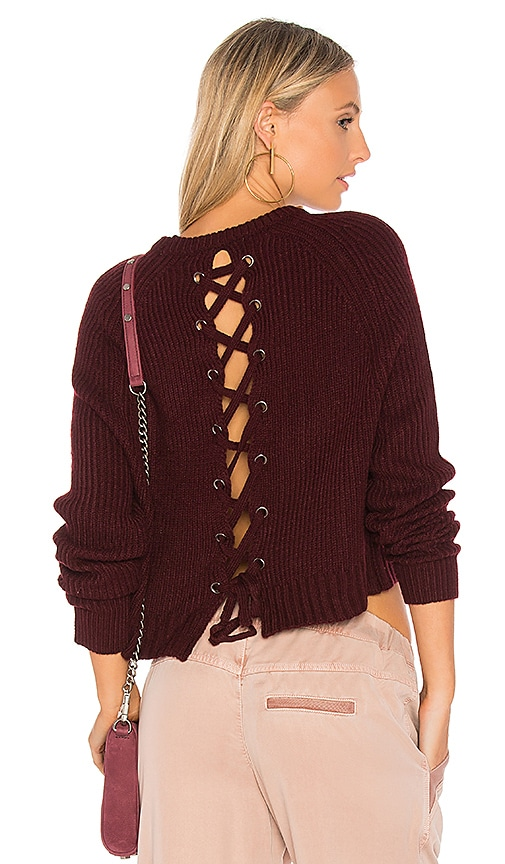 John & Jenn by Line Aisha Lace Up Back Sweater in Burgundy