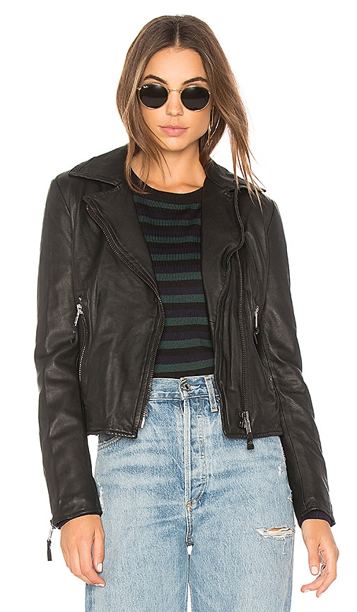 John & Jenn by Line Nicholas Leather Moto Jacket in Black