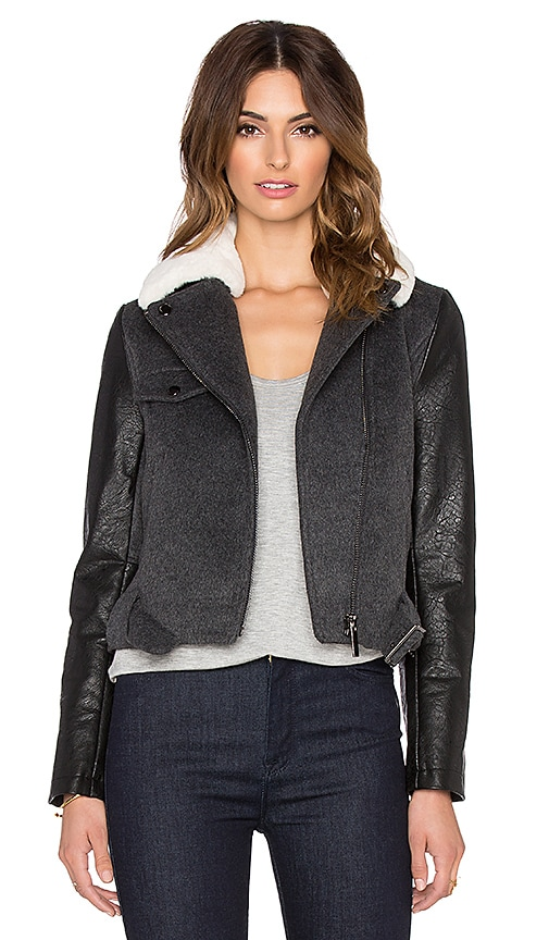 John & Jenn by Line Russell Moto Jacket in Charcoal