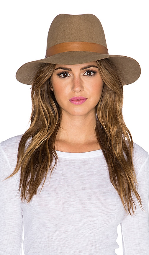 Janessa Leone Clay Hat in Light Brown & Brown Leather