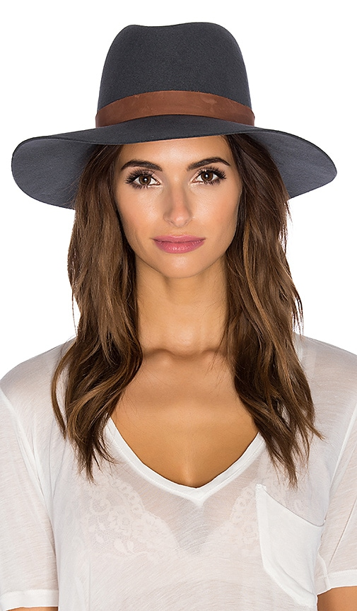 Janessa Leone Granite Hat in Pinstripe & Brown Leather