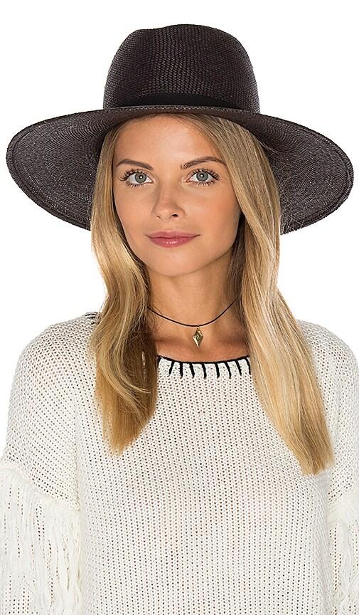 Janessa Leone Lynn Short Brimmed Panama Hat in Black