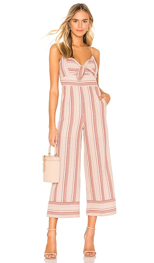 Striped Linen Tie Front Jumpsuit
