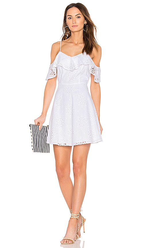 J.O.A. Cold Shoulder Fit & Flare Lace Dress in White