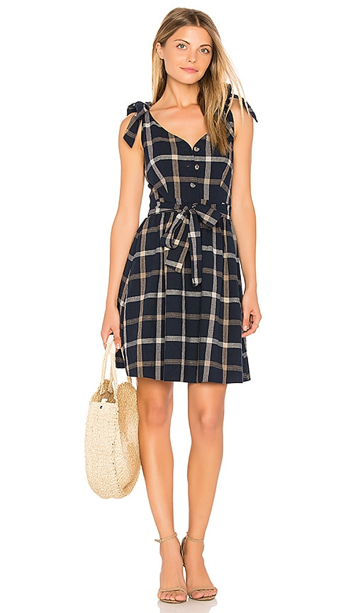 J.O.A. Tie Shoulder Plaid Dress in Navy