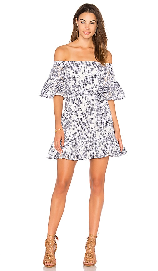 J.O.A. Floral-Lace Off The Shoulder Dress in Navy
