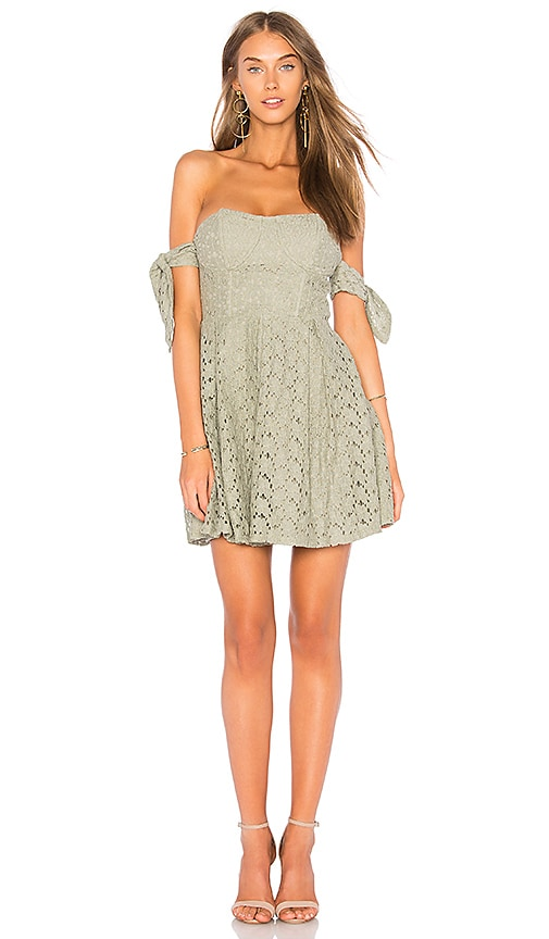 J.O.A. Off The Shoulder Sleeve Tie Lace Dress in Olive