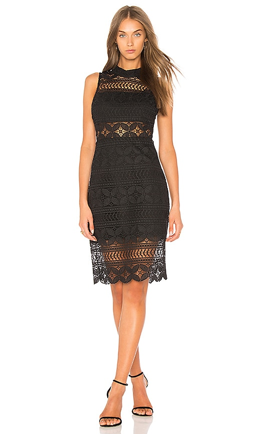 J.O.A. Mock Neck Lace Dress In Black