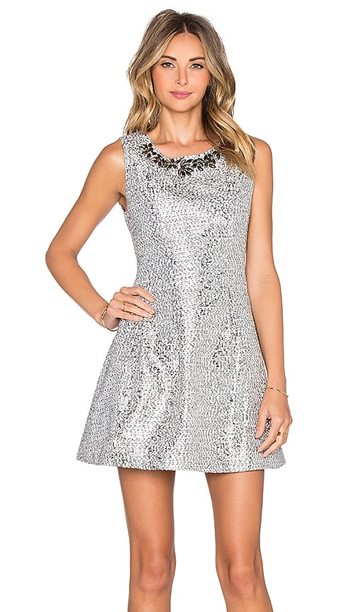 J.O.A. Embellished Dress in Silver