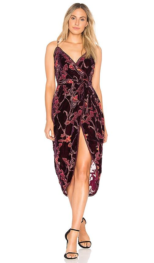 J.O.A. Burnout Velvet Wrap Dress in Burgundy