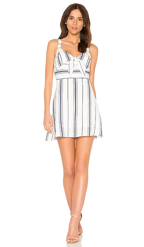 J.O.A. Tie Front Fit & Flare Dress in White