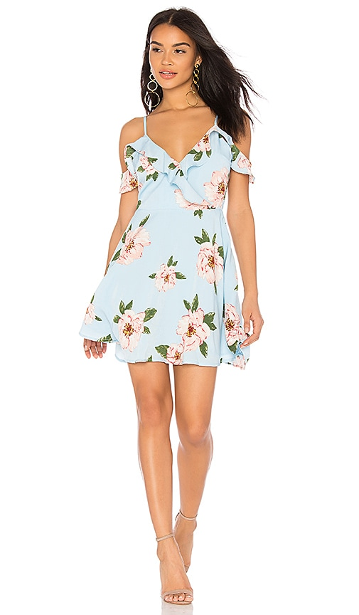 J.O.A. Ruffle Cold Shoulder Dress in Baby Blue