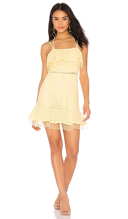 J.O.A. Lace Detail Ruffle Hem Dress in Yellow